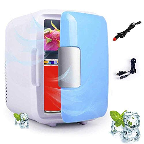 PULLEY Mini refrigerador eléctrico y calentador (4 litros/6 latas): sistema termoeléctrico portátil AC/DC/dormitorio/coche/hogar/multipurpos (color: azul)