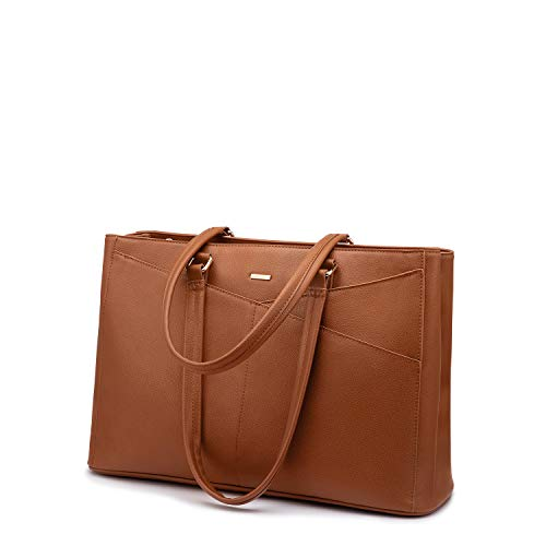 Laptop Tote Bag for Women 15.6 Inch Waterproof Leather Computer Bags Women Business Office Work Bag Briefcase Brown