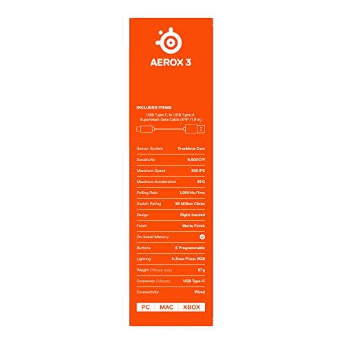 SteelSeries Aerox 3 – Superleichte Gaming-Maus – Optischer TrueMove Core Sensor mit 8.500 CPI– Ultraleichtes, wasserfestes Design – Schwarz - 10