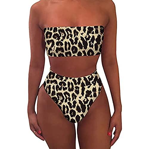 Conjunto de bikini para mujer de cintura alta, traje de baño sexy con estampado de leopardo para verano acolchado fuera del hombro ropa de playa