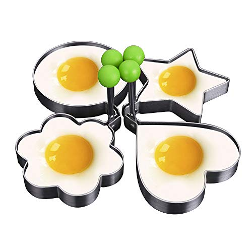 YZG LIFE 4pcs Egg Ring Non Stick Fried Egg Molds for Pancake Sandwiches Mcmuffin and Patties Stainless Steel Rings Shaped Fried Mold Round Heart Pentagram Flower Cooking Tool with Handle