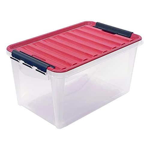 TOP-BOX Compact UNIVERSAL Aufbewahrungsbox mit Deckel, 59x38x30 cm transparent-rot