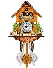 NRRN Reloj de pared de cuco, hecho a mano, de madera, estilo europeo tallado de precisión, cuco, bosque, cuco, sala de estar, oficina