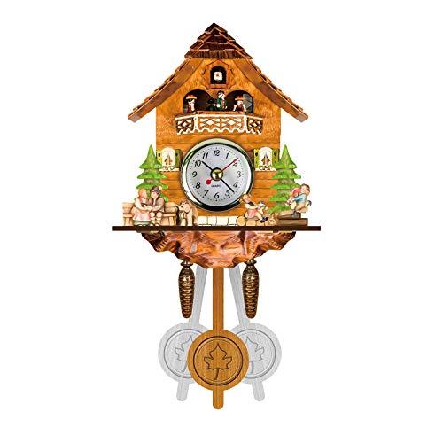 CUPPP Reloj De Cuco Reloj De La Selva Negra con Péndulo, Reloj De Pared con Forma De Pajarera con Voces De Pájaros Naturales, Reloj para Habitación Infantil