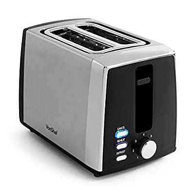 VonShef Stainless Steel Toaster - 2 Slice Toaster with Browning Control, Removable Crumb Tray & Defrost Function - 900W