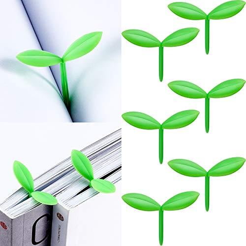 Sprießen Kleine Grün Lesezeichen Mini Grün Sprießen Lesezeichen Silikon Gras Knospen Lesezeichen Kreative Geschenke für Bücherwurm Buch Liebhaber Lesen (6 Stücke)