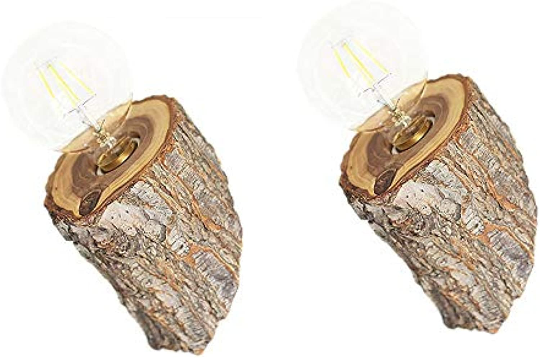 LDDENDP Hawthorn Wood Wandleuchte Creative Solid Wood LED Nachttischlampe Wohnzimmer Schlafzimmer Balkon Hotel Hotel Wandleuchte Hotel Korridor Restaurant Innenhof Wandleuchte (1 Packung, 2 Packungen)
