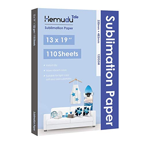 """Hemudu Tale Sublimation Paper 13""""x19"""" Heat Transfer Paper Compatible with Any inkjet Printer with Sublimation Ink DIY Gift 110 Sheets"""