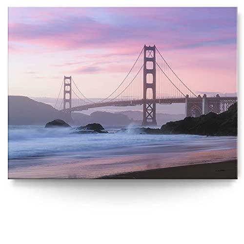 BilderKing Intensiv & Impostant 200x150cm großes Leinwand-Bild. San Francisco, Golden Gate Bridge als Wandbild auf 4cm tiefen Keilrahmen. Eindrucksvoller können Sie Ihren Raum Nicht in Szene setzen