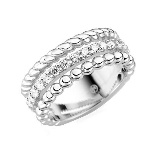 Giorgio Martello Milano Ring 3-reihig Mit Zirkonia Silber, 54 925 Sterling Silber