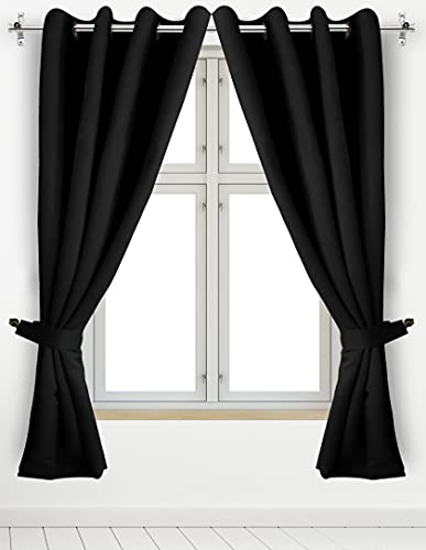 Utopia Bedding 2 Panels Rod Pocket Blackout Curtains with 2 Tie Backs W52xL63 Inches, Thermal Insulated Window Draperies - 7 Back Loops per Panel, Black