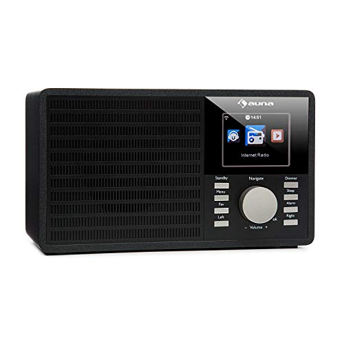 auna - IR-160, Radio por Internet, Alarma, WiFi WLAN, USB, MP3, Entrada AUX, Streaming Música, UPnP DLNA, Pantalla TFT de 2,8', Air Music Control App, Negro