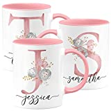 Personalized Coffee Mug Gift for Women, for Her, w/ Name and Pink Initial - 15oz. Pink - Custom Ceramic Cup - Monogrammed Gift for Women Mom Bridesmaid Grandma - Unique Gift ideas - Flower Love