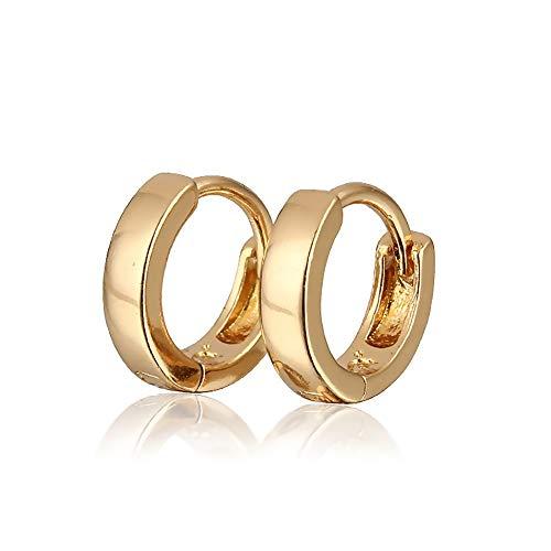 BOBIJOO Jewelry - Orecchini Bambino Bambini Ragazza D'Oro Placcato Oro Anelli Cerchi Di Nascita, Battesimo, Anniversario