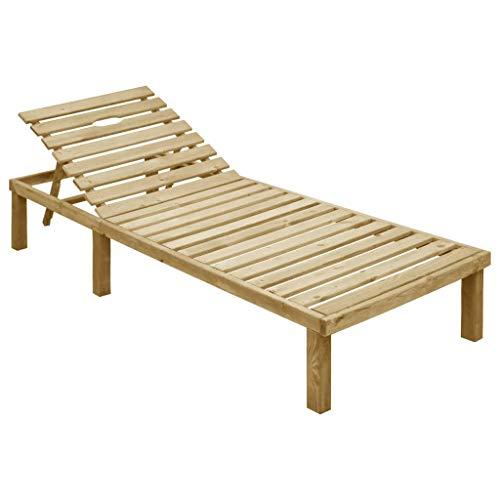 vidaXL Madera de Pino Impregnada Tumbona de Jardín Asiento de Terraza Exterior Cenar al Aire Libre Patio Muebles Comedor Patio Exterior