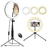 Luce ad Anello Led con Stativo Treppiede, 10.2'' Ring Light da Telefono TIK Tok, Recettore Bluetooth, Lampada Anulare Regolabile con 3 Colori, 10 Luminosità per, Foto Video, Youtube, Selfie, Trucco