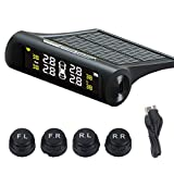 3T6B Solar Power TPMS 4 Tire Pressure Monitoring System Wireless Smart Tire Safety Monitor with External Cap Sensors Real Time Pressure & Temperature Alerts