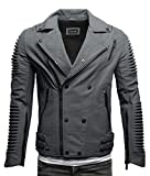 Crone Unique Herren Echtleder Biker Jacke Premium Lederjacke Weiches Schafs-Leder mit vielen Details und Zippern (Biker - Matt Grau, M)