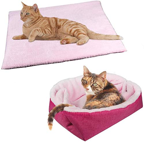 XHHGO Furry Cat Bed/Mat (Convertible) Self-Warming Cat Mat Light Weight Fur Pet Bed for Cats Puppy Cat Bed Mat Machine Washable Puppy Bed Best for Indoor Cats Houses Floor Car Back Seat-Pink