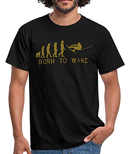 Born to Wake, Evolution, I Love My Wakeboard, Wakeboarder, Wakeboarding, Kiteboard, Skateboard, Snow Männer T-Shirt, L, Schwarz