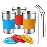 Copas de acero inoxidable con tapas, mangas y pajitas de silicona | Paquete de 3...