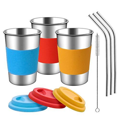 Copas de acero inoxidable con tapas, mangas y pajitas de silicona   Paquete de 3 16 oz. Copas de vasos de bebida para niños pequeños, niños y adultos   Ecológico   Sin BPA