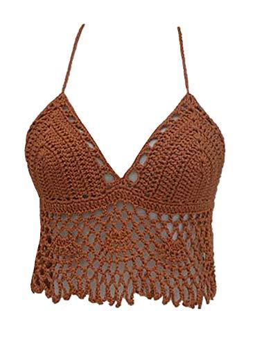 Black Bikini Halter Top Handmade Crochet Crop Top (Copper, M)
