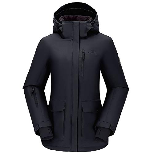 CAMEL CROWN Womens Waterproof Ski Jacket Winter Coat with Hooded for Rain Snow Outdoors Hiking Mountain