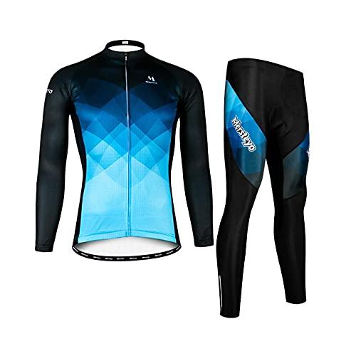 CCCYT Ropa de Bicicleta Hombre MTB Traje de Ciclismo Mangas Largas Maillot+Pantalones Equipación de Ciclista