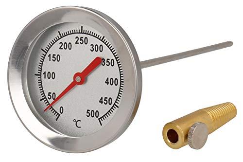 Termómetro analógico bimetálico 500°C – para horno / parrilla / tandur / ahumadorDiámetro: 62 mm. Longitud: 15 cm.