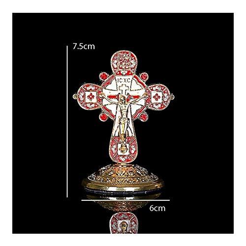 FKJSP Mode Gouden Jezus Christelijk Katholiek Kruis Heilige Kruis Decoratie Jezus Standbeeld Van Kruis Met Basisbeeld Beeld 75 * 60mm Jezus (Metalen kleur: R05)