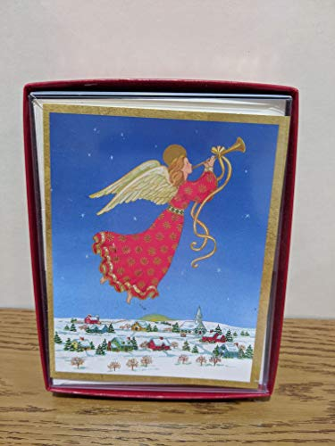 Caspari Christmas Holiday Boxed Cards Angel Over Town