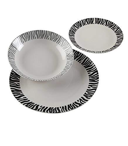 BigBuy Home - Set de Vajilla Zebra Porcelana (18 Piezas)