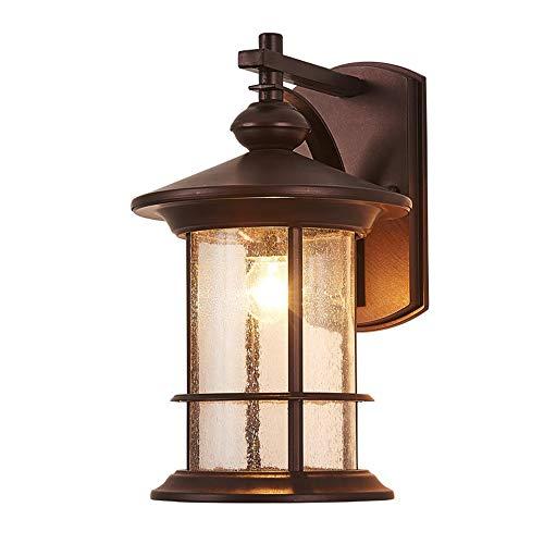 Aplique exterior Retro cilíndrico marrón Luz de pared de hierro fundido Hogar impermeable Pared farol calle jardín balcón terraza Lámpara Iluminación de pared 25 * 20 * 33 cm