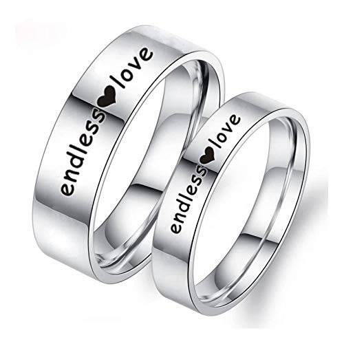 Malinmay Ring Titanium, High Polished Engraved Heart Endless Love Stainless Steel Couple Ring Sets for Couples Wedding Promise Anniversary