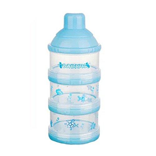 Best Deals! Baby Milk Powder Dispenser/Storage Container Three-Chamber Dispenser(Blue)