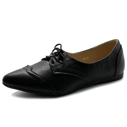 Ollio Women's Ballet Shoe Flat Enamel Pointed Toe Oxford M1818 (8.5 B(M) US, Black)