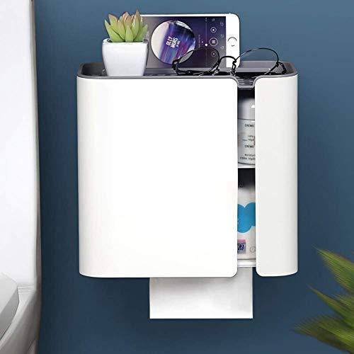 Porta Rollo para Baños y Cocinas Porta papel higiénico baño Estante de pared-Punch libre impermeable del rollo de papel del tubo del cajón del papel higiénico del titular WhiteAAA Soporte de papel hig