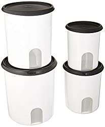 small Remember one touch, four pieces of Tupperware.Canister kit / black, with new design seal