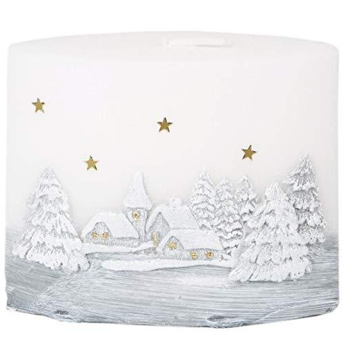 Adpal Kerzenmanufaktur Kerze Weihnachtskerze Wachsmotiv und LED Diode Ellipsen Stumpenkerze Wachsmotiv