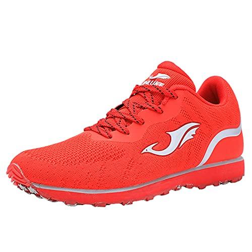 Willsky Zapatillas De Deporte Para Hombres Mujeres Mujeres Ligeras Pistas Transpirables Zapatos Fitness Ampliado Afilado,Rojo,45EU