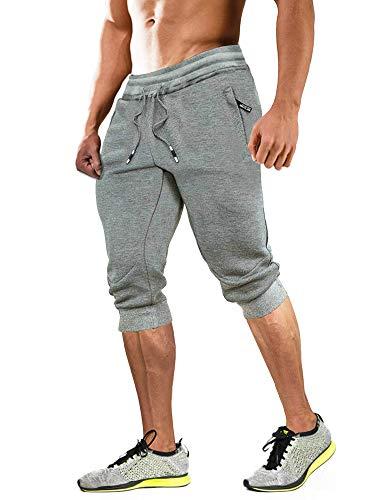 MAGCOMSEN Pantacourt de sport d'été pour homme - Short de sport léger - Court - Taille élastique - Slim fit - Pour sports de plein air - Gris clair - 38