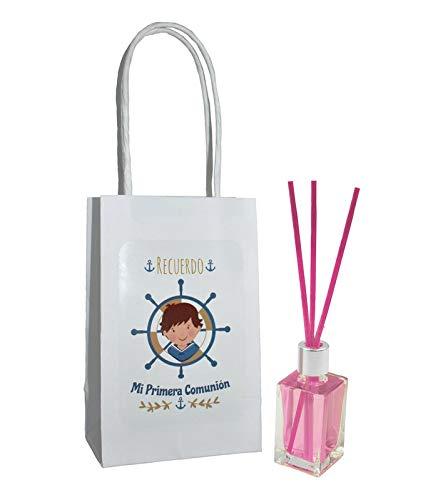 Lote de 25 und ambientador rosas mas varillas comunion niño + bolsa Regalos Originales. Complementos. Detalles para Bodas, Comuniones, Bautizos y Cumpleaños.