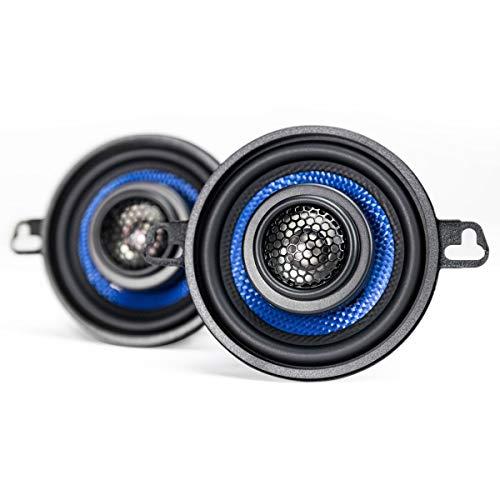 Hifonics Alpha HA35CX - 3.5 Inch Coaxial Car Speakers, 125 Watt Max, Black and Blue, Aluminum Dome Tweeter, Voice Coil
