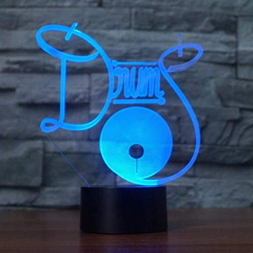 3D-nachtlampje, creatieve drumset, model led-3D-lamp, 7 kleuren, touch-schakelaar, 3D-nachtlampje, wooncultuur, muziekinstrumenten, fan, cadeaulamp, nachtkastje