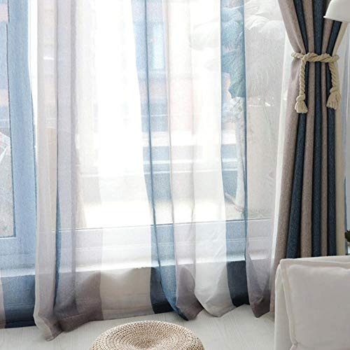 Blauw gestreepte verduisteringsgordijnen voor woonkamer Bruine mediterrane tule + gordijn voor slaapkamerraam luxe organza vitrage, blauwe strepen tule, B350cm x H270cm
