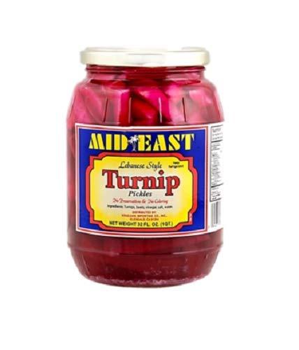 Mid East Pickled Turnips Premium Quality 32oz each - 1 Single Glass Jar - مخلل لفت لبناني ممتاز