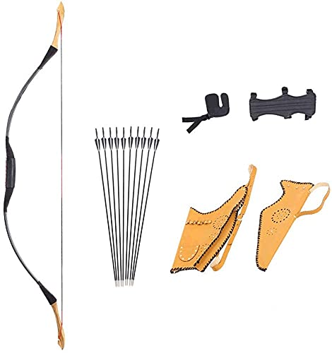 WSVULLD Kit de tiro con arco al aire libre Arco con 10 flecha para jóvenes adultos, arco largo de madera tradicional al aire libre Incluya tintineos para la caza de la caza de niños que dispar