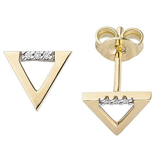 JOBO Damen-Ohrstecker Dreieck aus 585 Gold mit 6 Diamanten