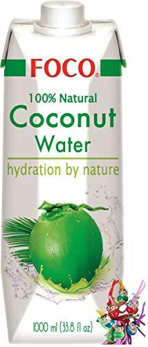 yoaxia ® Marke Set - [ 1 Literl ] FOCO Pures Kokosnusswasser / Kokoswasser Coconut Water 100% Natural + ein kleines Glückspüppchen - Holzpüppchen